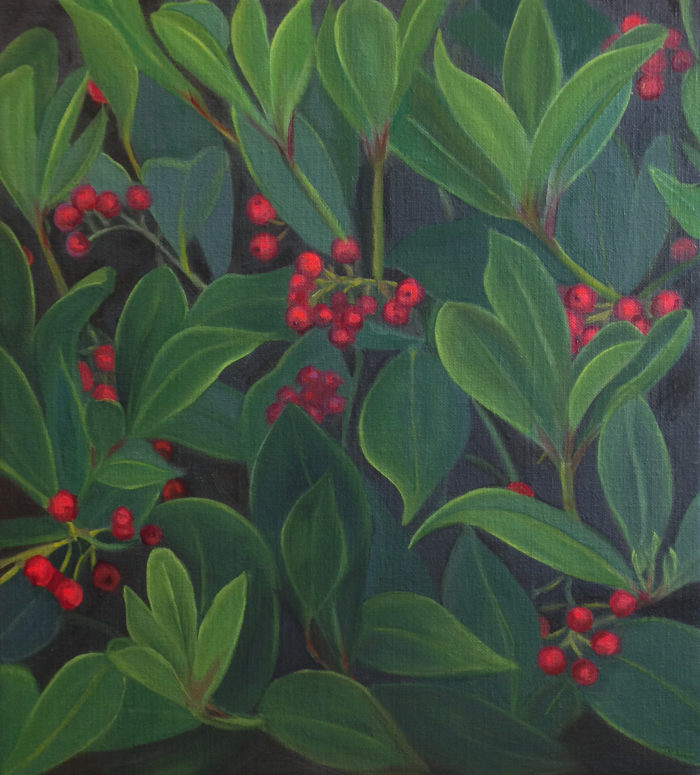 Winter Berries Oil On Linen 13X12Ins